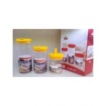 Easy Shop Glass Jar Set Of 3 Yellow (BCB1-0298)