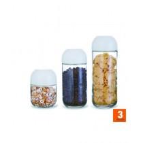 Easy Shop Measuring Lid Glass Jar Set Of 3 (BCB1-0294)