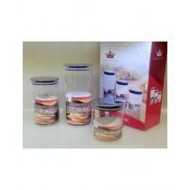 Easy Shop Silicon Lid Glass Jar Set Of 3 (BCB1-0295)