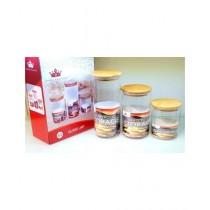 Easy Shop Wooden Lid Glass Jar Set Of 3 (BCB1-0297)