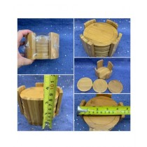 Easy Shop Wooden Tea Coaster With Stand Pack Of 6