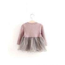 Eizy Buy New Princess Gauze Stitching Knitted Long Sleeve Kid's Dress