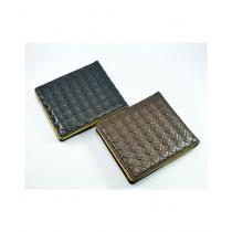 Eizybuy Mesh Design Wallet For Men Black/Brown Pack Of 2