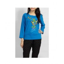 Element Jeans Butterfly Printed Crew Neck T-Shirt For Women Blue (12040281504)