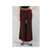 Element Jeans Jersey Palazzo Pants With Multi Color Waist Band Brown (12210930611)