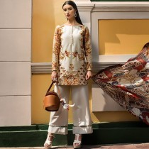 Erum Khan Embroidered Chiffon Collection Dusty Gold 3 Piece