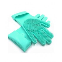 Eshall Magic Dish Washing Gloves with Scrubber Green
