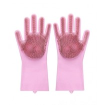 Eshall Magic Dish Washing Gloves with Scrubber Pink