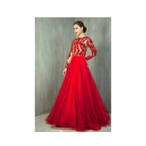 Fashion Flower Chiffon 3-Pcs Unstiched Maxi For Women Red