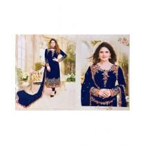 Fashion Flower Chiffon 3-Pcs Unstiched Suit For Women Blue Pearl