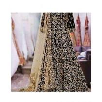 Fashion Flower Chiffon heavy 3-Pcs Unstiched Suit For Women Black