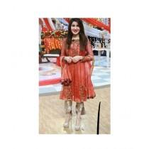 Fashion Flower Net 4-Pcs Unstiched Suit For Women Orange