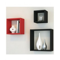 Fashion Nova Mart Decorative Wall Shelf Red & Black