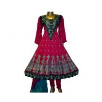 Fashionista Fancy Embroidered Chiffon Stitched Frock 3 Pcs Pink