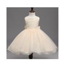 FashionValley Elegant Champagne Designer Frock For Baby Girl (0094)