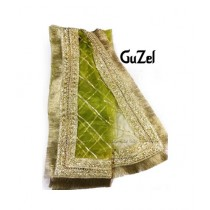 Guzel Dupatta with Bridal Kiran Lace Lime Green (GNbg-020)