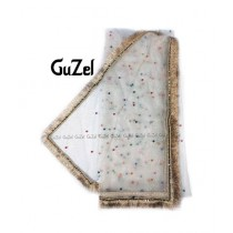 Guzel Dupatta with Fancy Kiran Lace White (GNmpg-009)