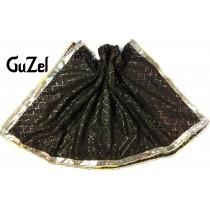 Guzel Dupatta with Gotta Ribbon Black (GNetZB-006)