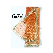 Guzel Dupatta with Gotta Ribbon Orange (GNetgpd-002)