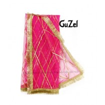 Guzel Dupatta with Kiran Lace Hot Pink (GNetpl-016)
