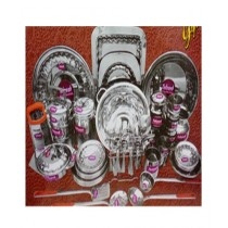 Hakimi Steel Elegant Design Dinner Set Stainless Steel 82 Pcs