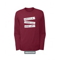 HashTag Round Neck Cotton Full Sleeves T-Shirt Maroon (HFT-0156)