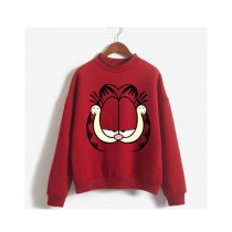 He & She Busy Cartoon Sweat Shirt For Unisex Red (0034)