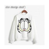 He & She Busy Cartoon Sweat Shirt For Unisex White (0037)