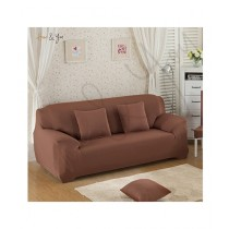 Home N You 3 Seater L Shape Stretch Sofa Cover With Soft Couch Brown
