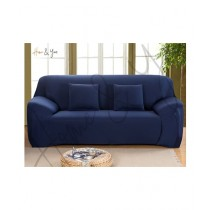 Home N You 3 Seater L Shape Stretch Sofa Cover With Soft Couch Navy Blue