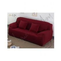 Home N You 3 Seater L Shape Stretch Sofa Cover With Soft Couch Wine