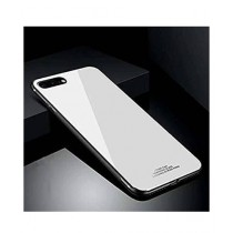 MISC Tempered Shine Back Glass + Silicone White Case For iPhone 7 Plus/8 Plus