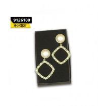 Kayazar Pearl Gold Square Earrings Green Stones (9126180)