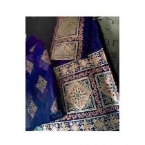 Keish Printed Silk 3-Pcs Women's Suit Navy Blue (KH-0004)