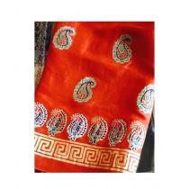 Keish Printed Silk 3-Pcs Women's Suit Orange (KH-0002)