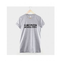 Khanani's Printed I Like Pizza T-Shirt For Kids Grey (0504)