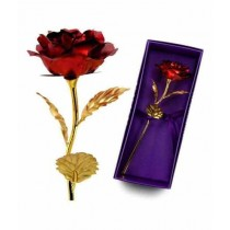 Kharedloustad 24K Gold Foil Plated Rose with Love Stand