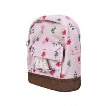 Kharedloustad Canvas Mini Floral Backpack For Women Pink