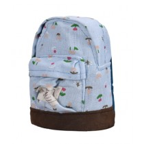 Kharedloustad Canvas Mini Floral Backpack For Kids Blue
