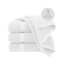 Knit that Fits Cotton Bath Towel White - Pack Of 4