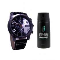 Kureshi Collections Analog Watch And Axe Apollo Body Spray For Men Pack of 2