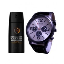 Kureshi Collections Analog Watch And Axe Dark Temptation Body Spray For Men Pack of 2