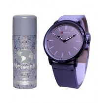 Kureshi Collections Analog Watch And Lomani Body Spray For Men Pack Of 2