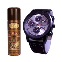 Kureshi Collections Analog Watch And Lomani Cigar Body Spray For Men Pack Of 2