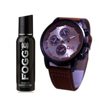 Kureshi Collections Analog Watch And Fogg Marco Body Spray For Men Pack of 2