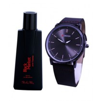 Kureshi Collections Men's Watch & Black Market Perfume Pack of 2