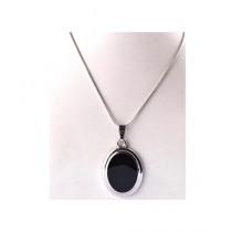 Kureshi Collections Shape Oval Pendant For Women's - Black (0274)