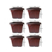 "Leaf Gardening 4"" Fancy Square Pot Brown Pack Of 6"