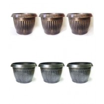"Leaf Gardening 6.5"" Fancy Pot Small Silver/Golden Pack Of 6"