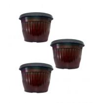 "Leaf Gardening 9.7"" Plastic Pot Brown Pack Of 3"